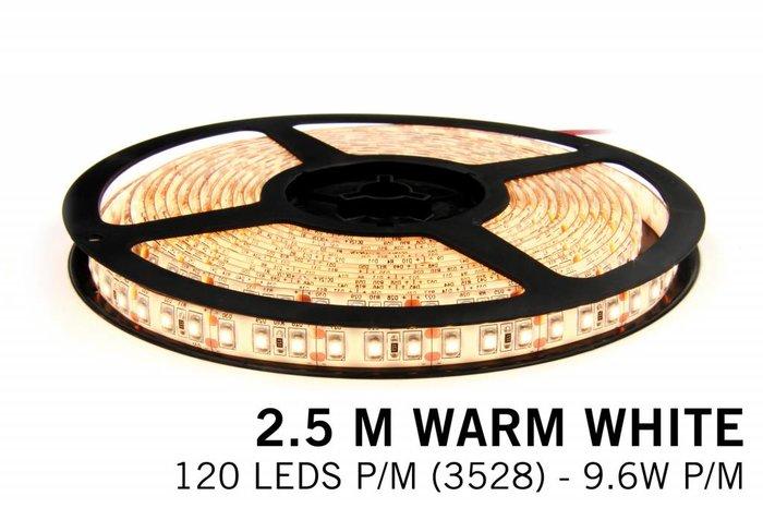 Warm Wit LED strip 120 leds p.m. - 2,5 m. - type 3528 - 12V - 9,6W p.m.