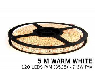 AppLamp Warm Wit LED strip 120 leds p.m. - 5M - type 3528 - 12V - 9,6 W p.m.