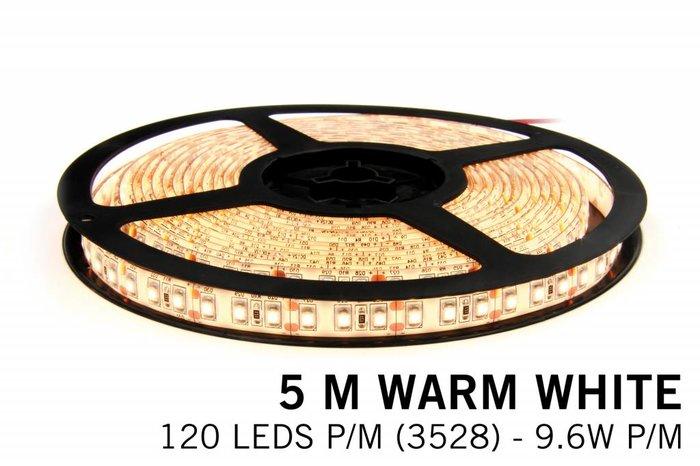 AppLamp Warm Wit LED strip 120 leds p.m. - 5M - type 3528 - 12V -9,6 W p.m.
