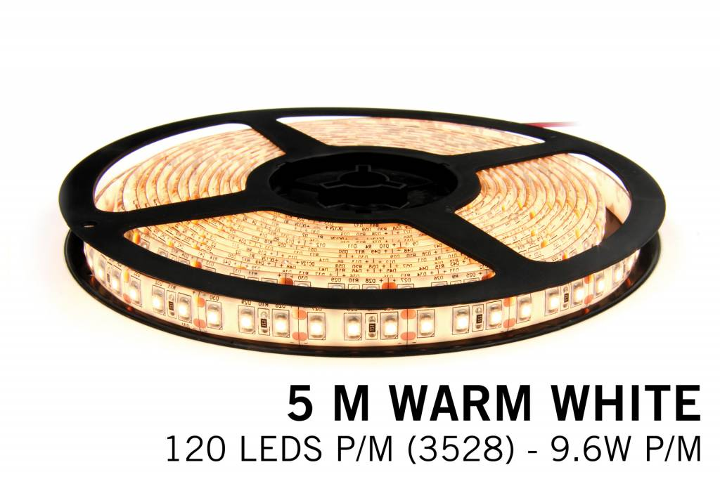 AppLamp Warm Wit LED strip 120 leds p.m. - 5M - type 3528 - 12V -9,6 W p.m.