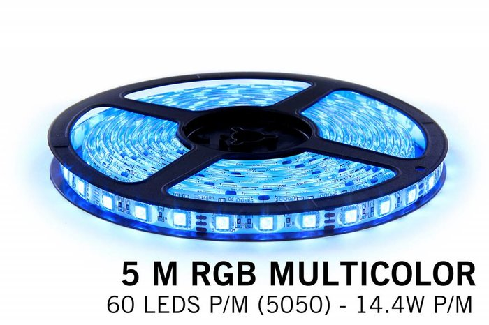 RGB LED strip 5 meter, 300 leds type 5050 12V (IP65)