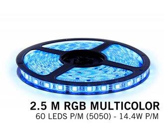 RGB LED strip 2,5 meter, 60 leds p.m. type 5050 12V