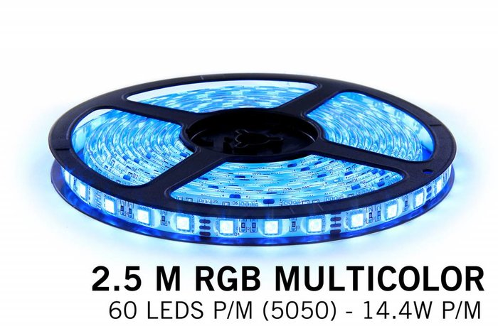RGB LED strip 2,5 meter, 150 leds type 5050 12V
