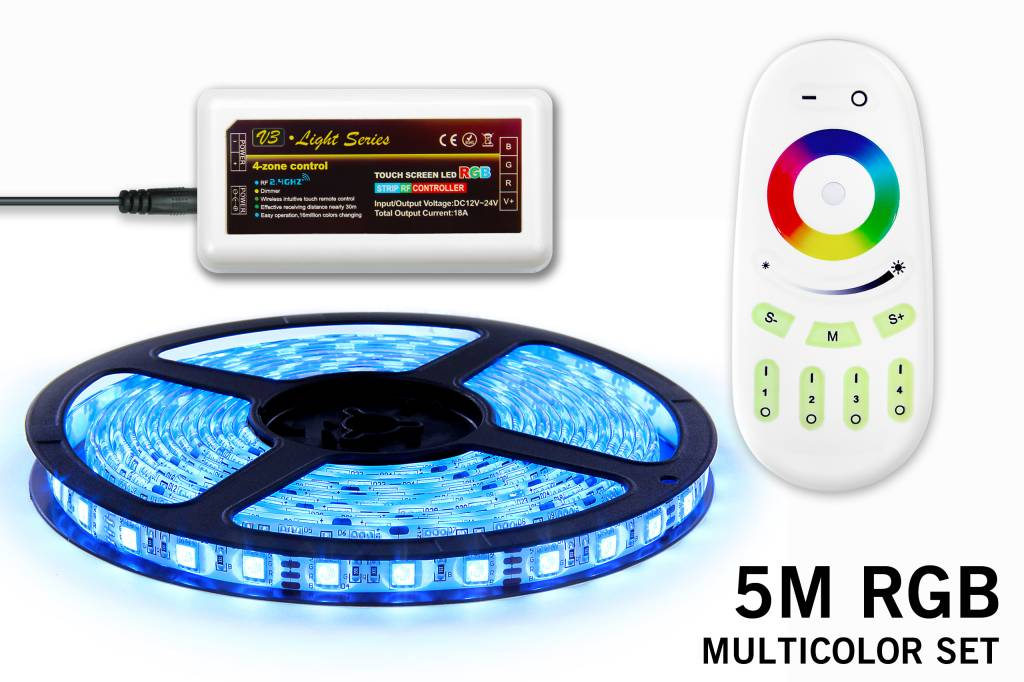 rgb led strip met wireless rf remote 5m incl controller voeding