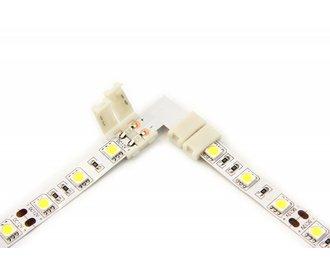 Witte LED strip 90° hoek L-connector, soldeervrij