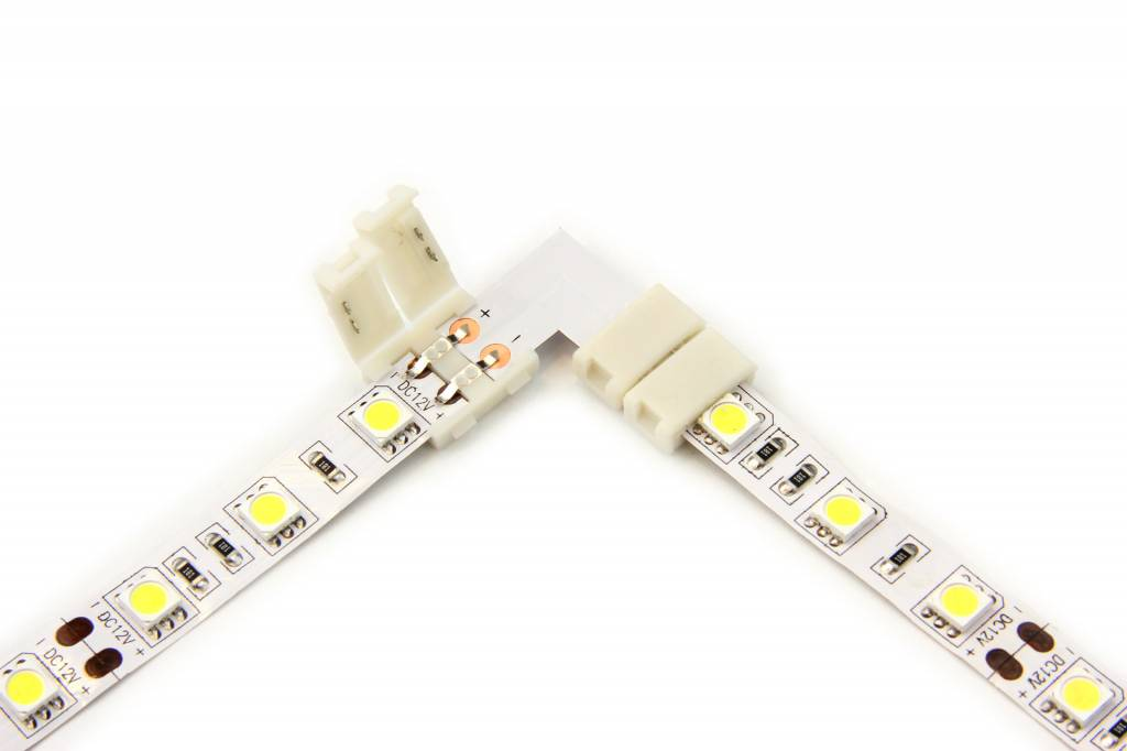 Witte LED strip 90� hoek L-connector, soldeervrij