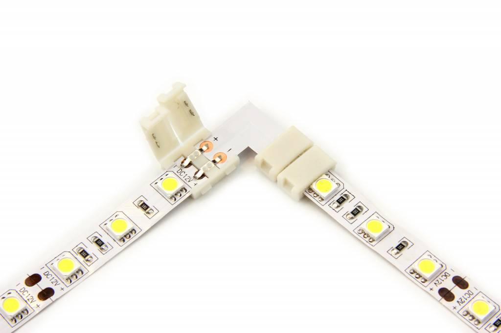 Witte LED strip 90° hoek L-connector