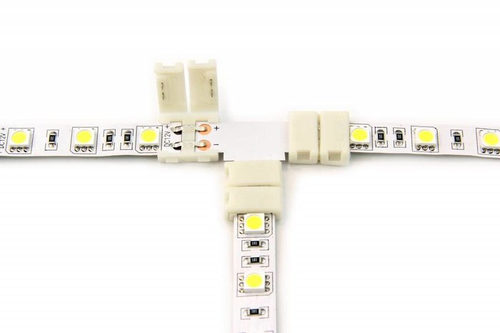 Witte LED strip T-connector