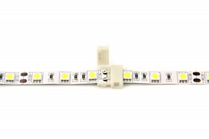 Witte LED strip koppelstuk, soldeervrij. Voor 5050 of 3528 ledstrips