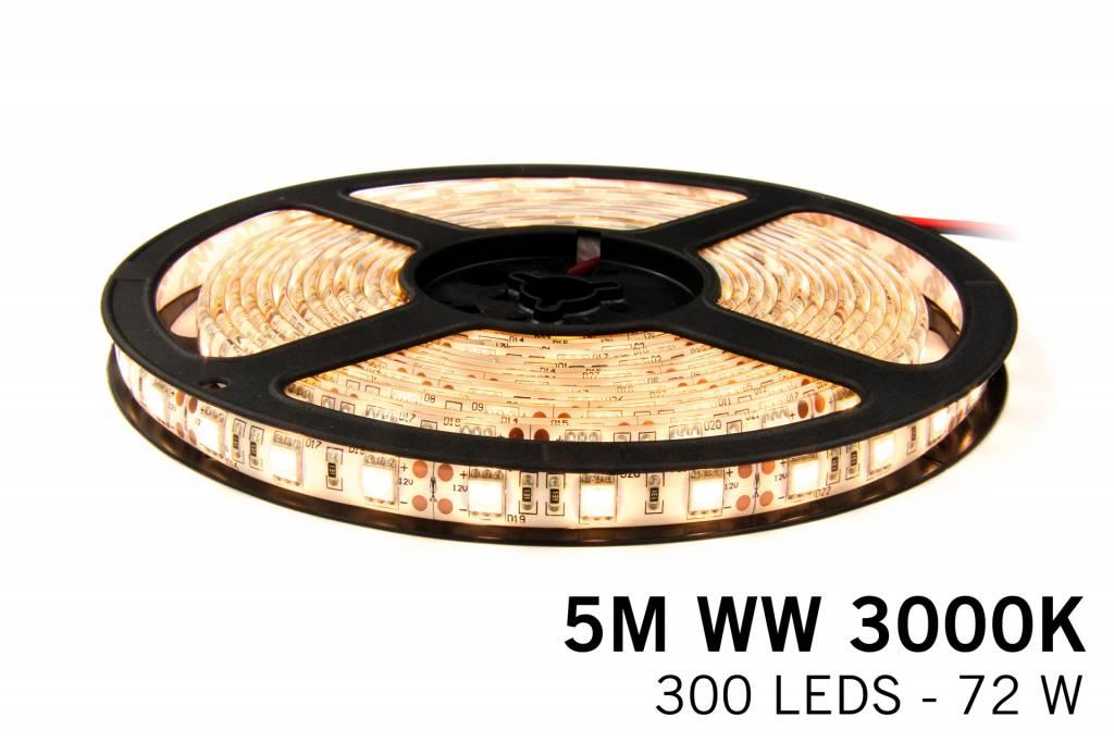 Dimbare LED strip set Warm Wit 5 m. 300 leds 72W IP65 (uitbreiding)