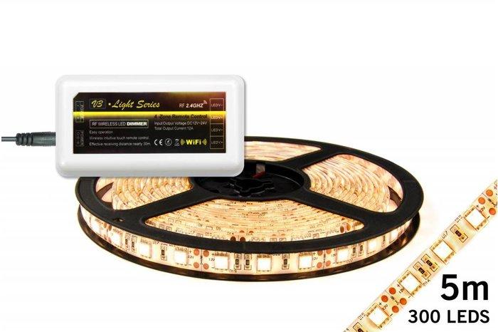 Dimbare LED strip set Warm Wit 5 m. 300 leds 72W (uitbreiding)