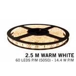 Warm Wit LED strip 60 leds p.m. - 2,5M - type 5050 - 12V - 14,4W p.m