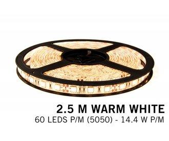 AppLamp Warm Wit LED strip 60 leds p.m. - 2,5M - type 5050 - 12V - 14,4W p.m