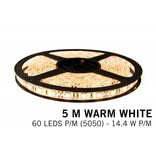AppLamp Warm Wit LED strip 60 leds p.m. - 5M - type 5050 - 12V - 14,4W/p.m