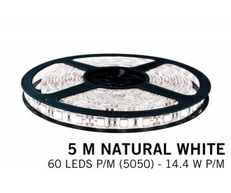 AppLamp Neutraal witte LED strip 60 leds p.m. - 5M - type 5050 - 12V - 14,4W/p.m
