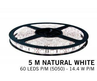 Neutraal witte LED strip 60 leds p.m. - 5M - type 5050 - 12V - 14,4W/p.m