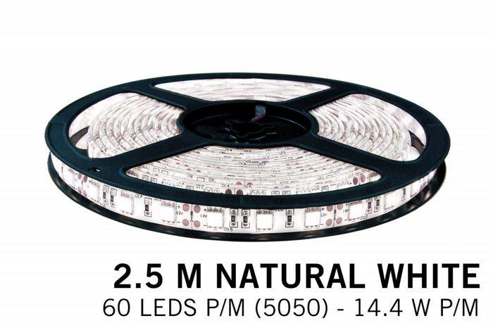 Neutraal witte LED strip 60 leds p.m. - 2,5M - type 5050 - 12V - 14,4W/p.m