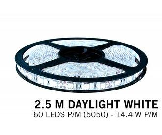 Koel witte LED strip 60 leds p.m. - 2,5M - type 5050 - 12V - 14,4W/p.m