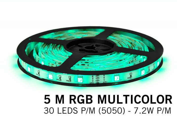 RGB LED strip 5 m. 150 leds met RGB controller en adapter (uitbreiding)