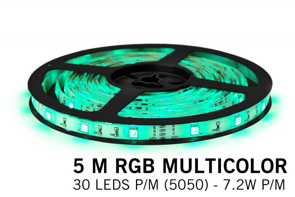 RGB LED strip 5 m. 150 leds met RGB controller en adapter (uitbreiding)