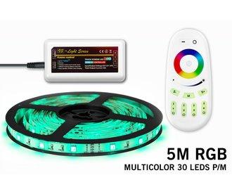 RGB LED strip 5m met afstandsbediening, type 5050, 30 LED's p.m.