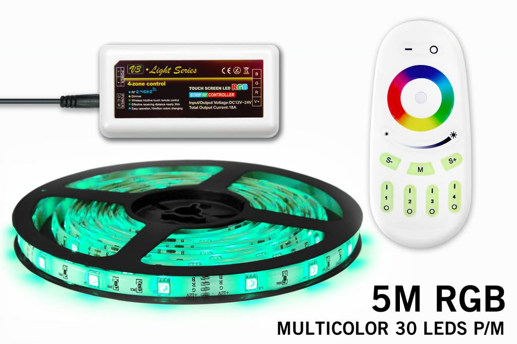 RGB LED strip 5m met afstandsbediening, type 5050, 30 LED's p.m.