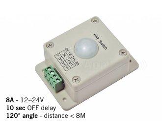 PIR bewegingsmelder, 12-24V / 8A, 120° hoek, 10 sec.