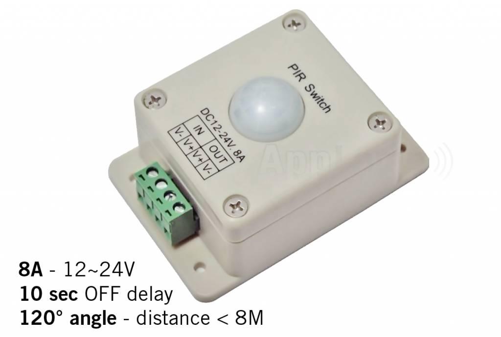 PIR bewegingsmelder, 12-24V - 8A, 120� hoek, 10 sec.