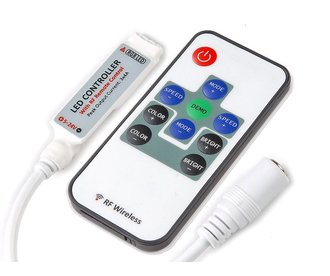 Mini LED strip RGB controller met RF afstandsbediening, 12A, 5V-24V