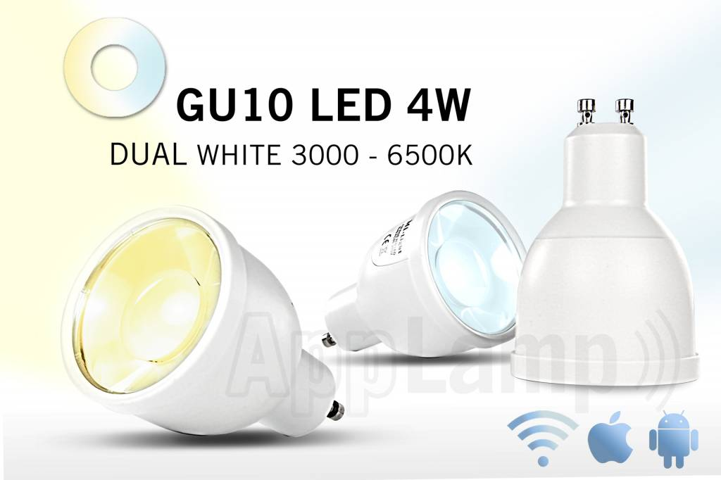GU10 LED spot Mi-Light 5W Dual White. 220V. Halogeenvervanger op afstand bedienbaar