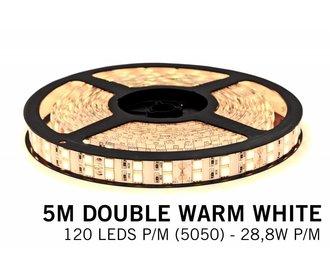 Warm Witte Ledstrip met dubbele rij 5050 LED's - 28,8W P/M 12V