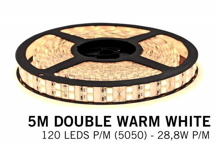 Warm Witte Ledstrip 2700K, dubbele rij 5050, 28.8W P/M 12V