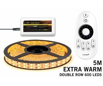 Mi·Light LED strip set Extra Warm Wit met dubbele rij, 600 leds met RF remote ★★★ SUPERDEAL! ★★★