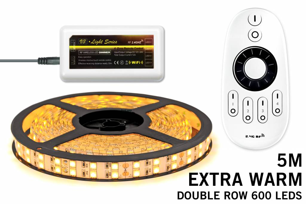 LED strip set Extra Warm Wit met dubbele rij, 600 leds met RF remote ??? SUPERDE