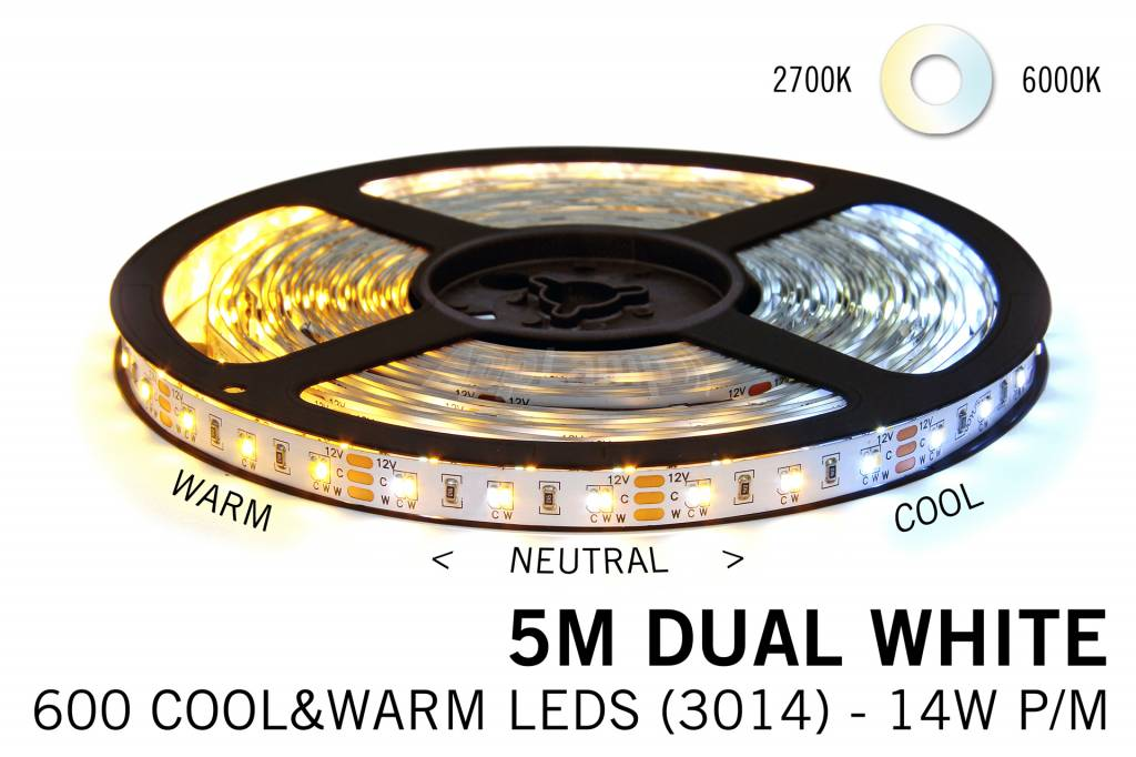 Mi·Light Dual White LED strip set 600 leds Variabele kleurtemperatuur 12V met remote