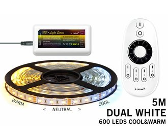 Dual White LED strip set met afstandsbediening set. 600 leds van Warm tot Daglicht