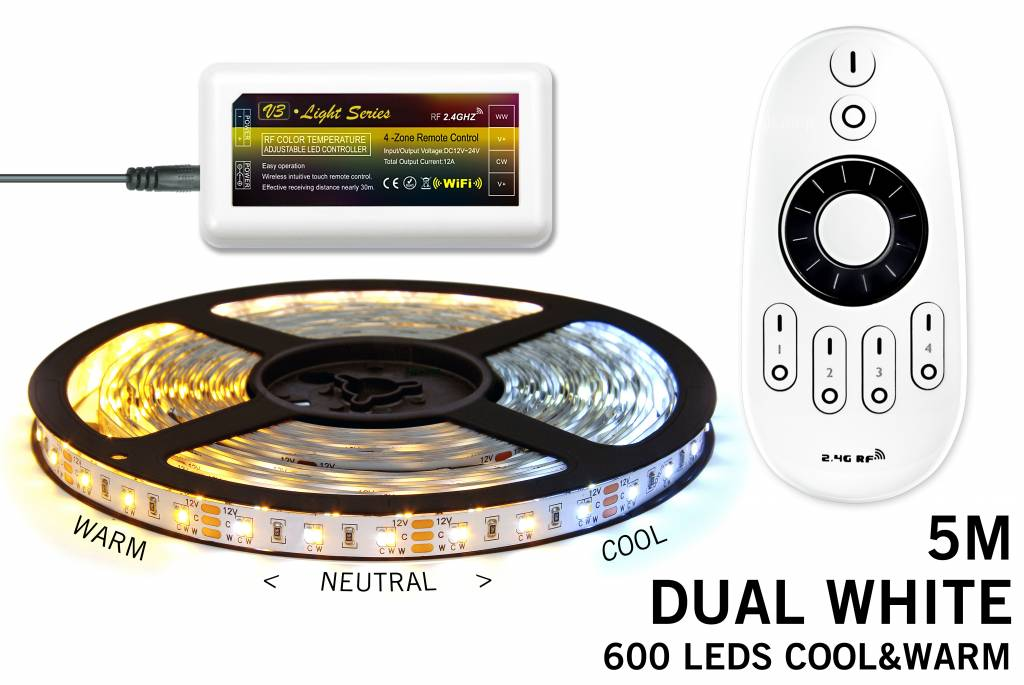 Dual White LED strip set met afstandsbediening set. 600 leds van Warm tot Daglic