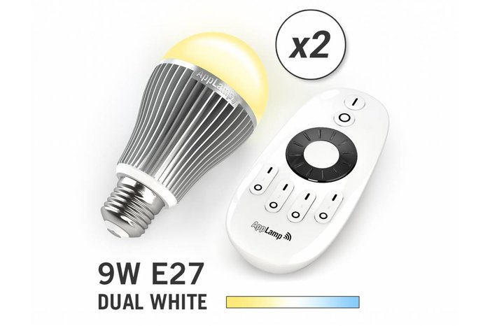 AppLamp Set van 2 Dual White 9W LED lampen + Afstandsbediening