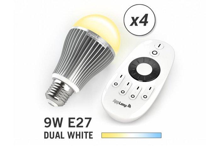 Mi·Light Set van 4 Dual White 9W LED lampen + Afstandsbediening