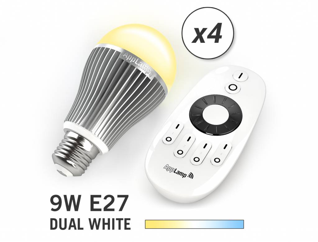 Mi-light 9W Dual White E27 Set van 4 Wifi LED Lampen