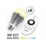 Mi-light 9W Dual White E27 Set van 8 Wifi LED Lampen. Incl. Afstandsbediening