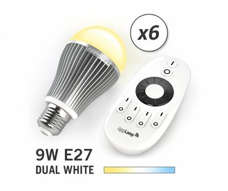 AppLamp Set van 6 Dual White 9W LED lampen + Afstandsbediening