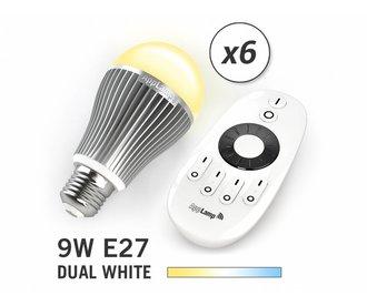 Mi·Light Set van 6 Dual White 9W LED lampen + Afstandsbediening