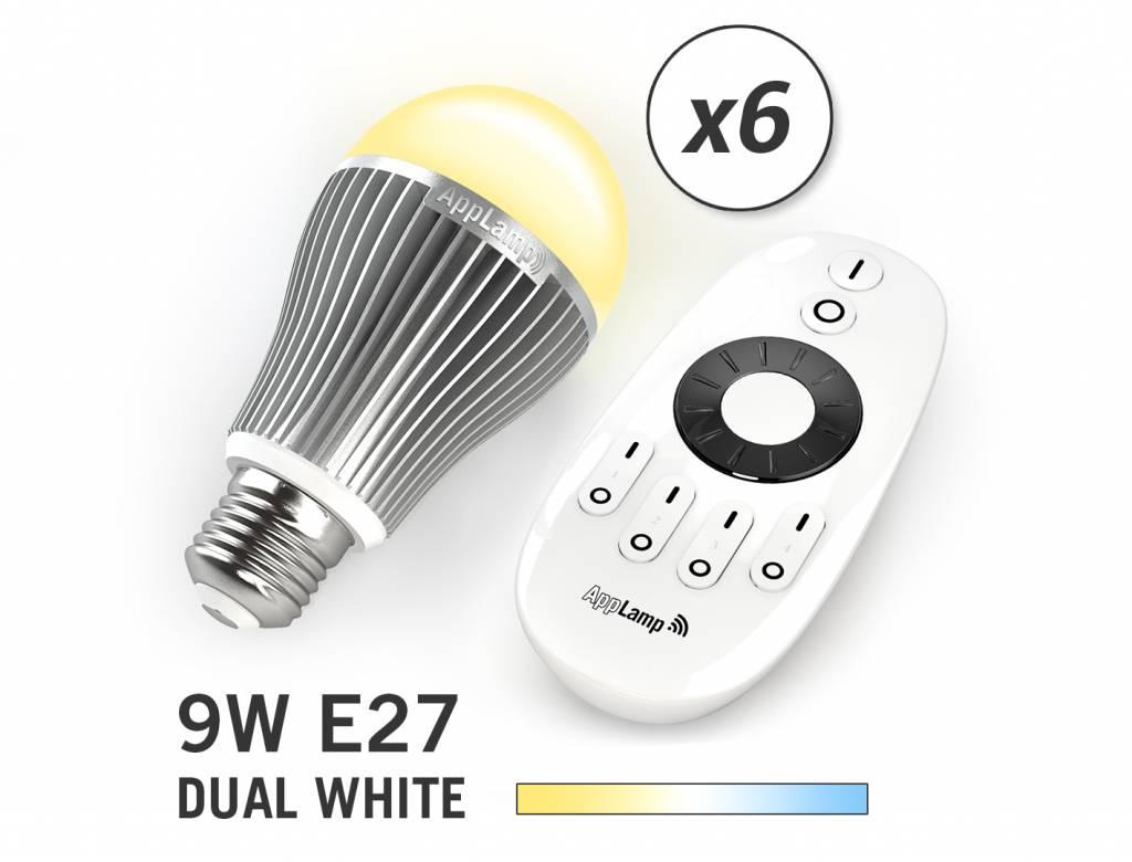 Mi-light 9W Dual White E27 Set van 6 Wifi LED Lampen. Incl. Afstandsbediening