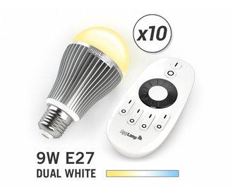 Mi·Light Mi-light 9W Dual White E27 Set van 10 Wifi LED Lampen