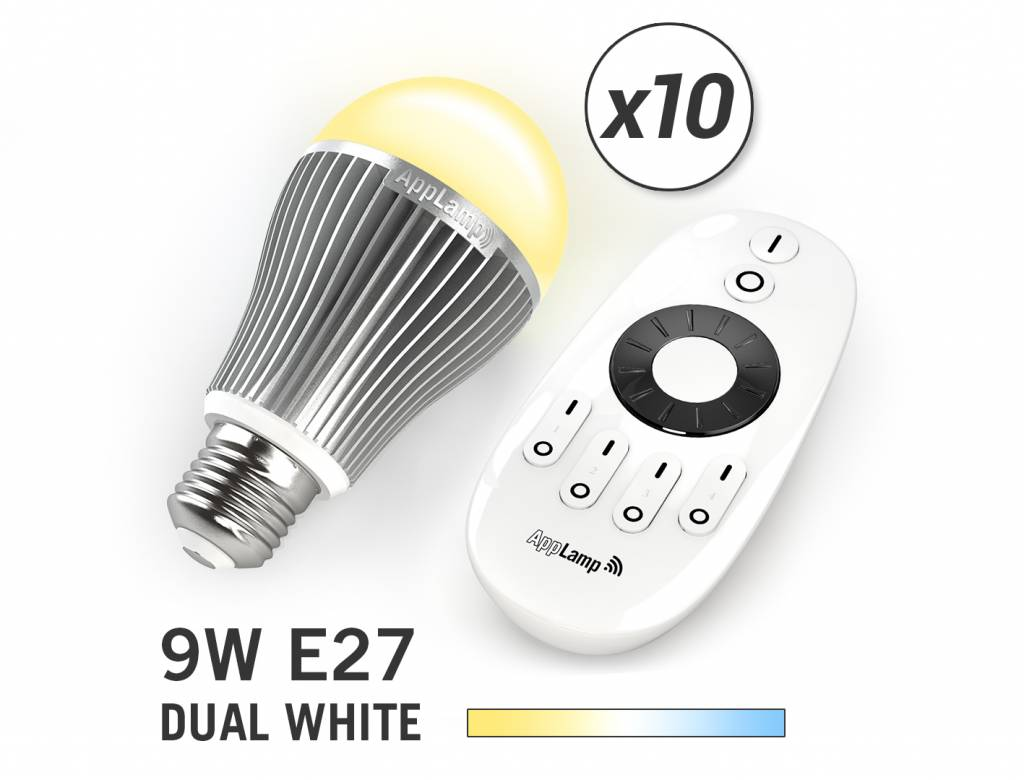 Mi·Light Mi-light 9W Dual White E27 Set van 10 Wifi LED Lampen. Incl. Afstandsbediening