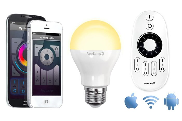 Wifi APP kit met één 6W Dual White LED lamp - APP en remote