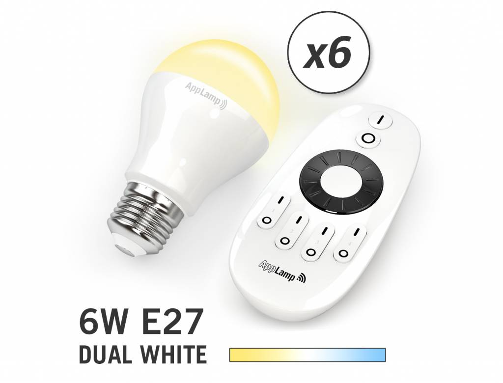Mi-light 6W Dual White E27 Set van 6 Wifi LED Lampen