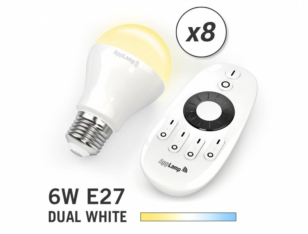 Mi·Light Mi-light 6W Dual White E27 Set van 8 Wifi LED Lampen. Incl. Afstandsbediening