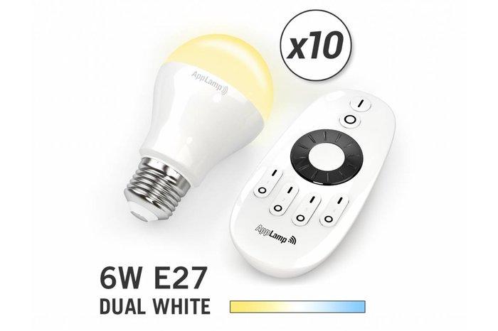 AppLamp Set van 10 Dual White 6W LED lampen + Afstandsbediening